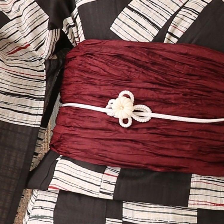 浴衣3点セット  古典柄 レトロ アンティーク 系 市松 黒 系