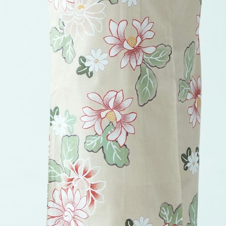 utatane 浴衣3点セット(F)変わり生地 古典柄 レトロ アンティーク系 花 ベージュ系