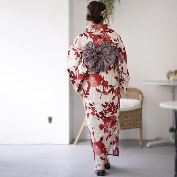 utatane 浴衣3点セット(F)古典柄 レトロ アンティーク系 草花 ベージュ系