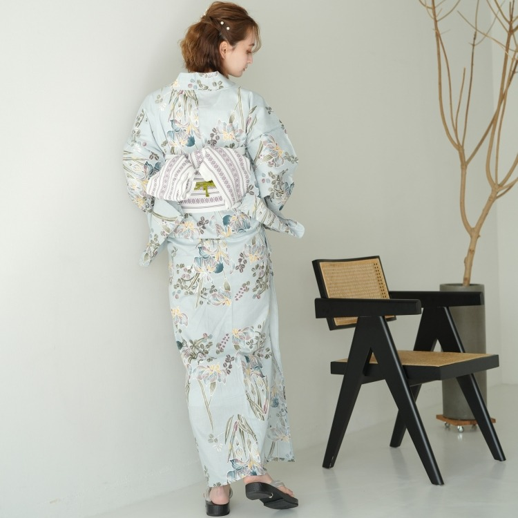 utatane 浴衣3点セット(F)変わり生地 古典柄 レトロ アンティーク系 菖蒲 水色系