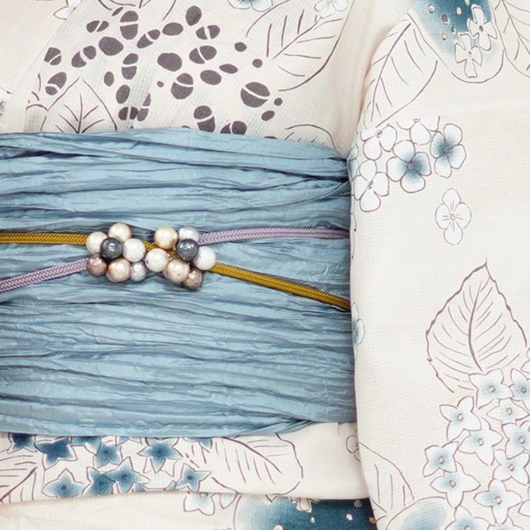 浴衣3点セット utatane 華やか 可愛い 系 紫陽花 ベージュ 系