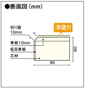 ウッドワン 上り框 ピノアース(高さ60mm×幅90mm)