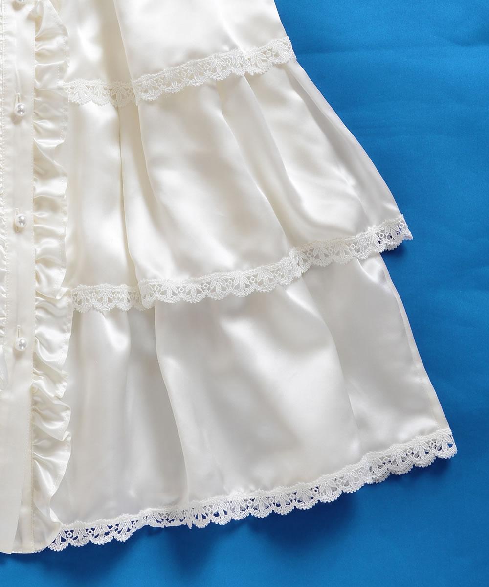 シルク100%ティアードベビードレス【お宮参りに最適】