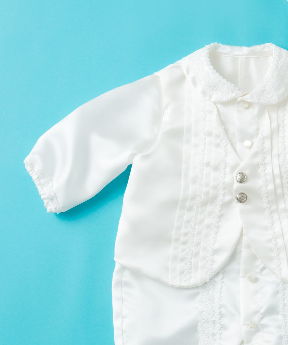 天然シルク100%男児用タキシード風ベビードレス【お宮参りに最適】