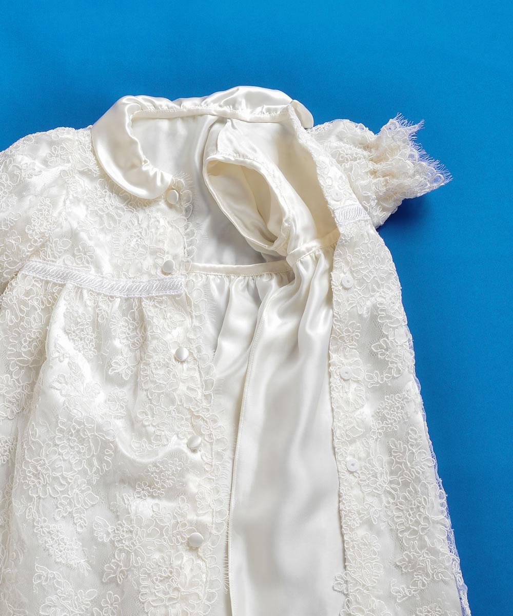 国産シルクとフランスレースのオートクチュールベビードレス【お宮参りに最適】