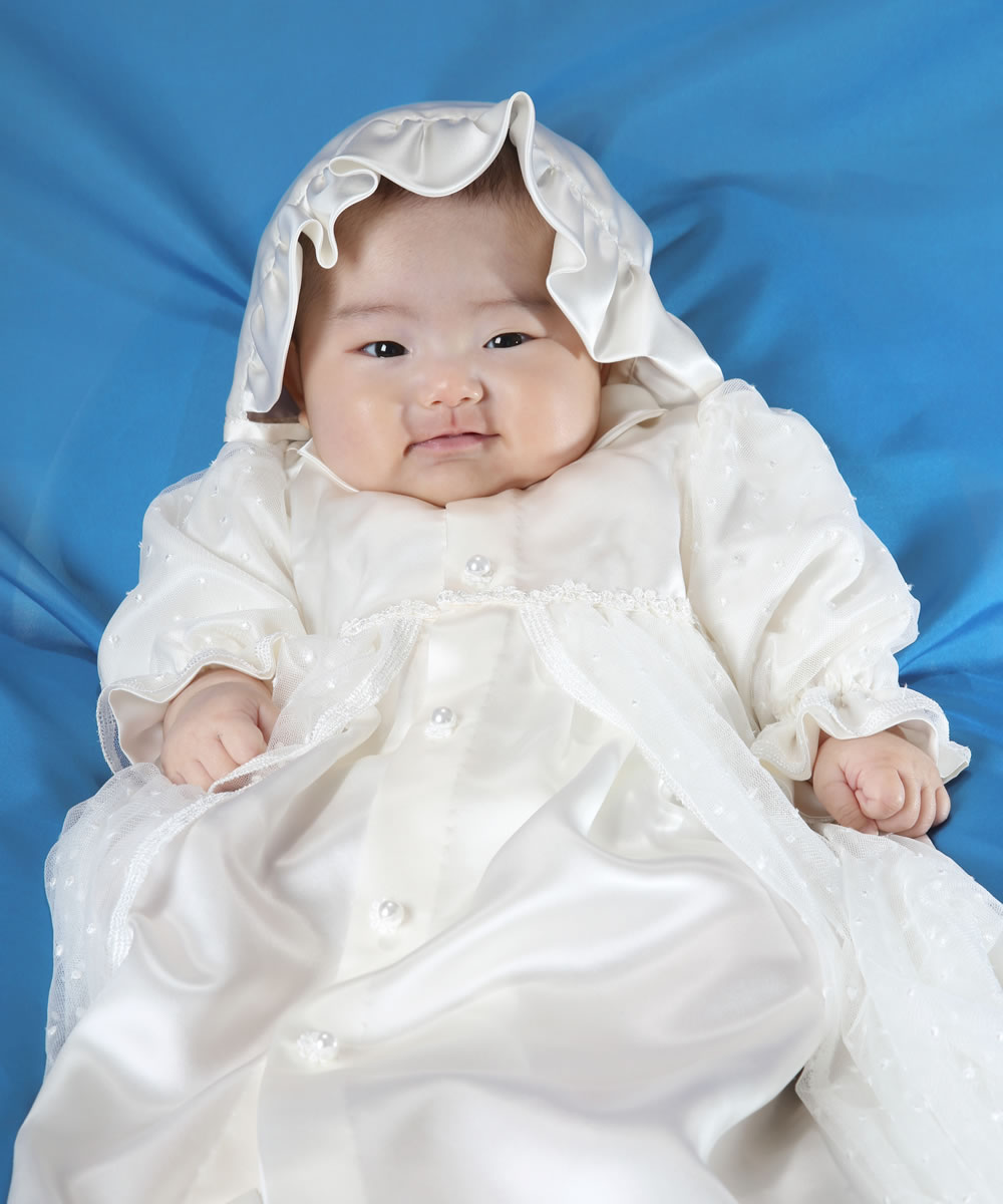 天然シルク100%フワリ水玉チュールのベビードレス【お宮参りに最適】