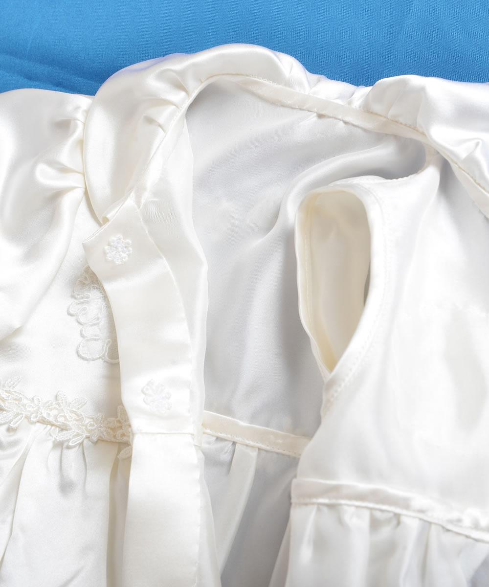 天然シルク100%花柄モチーフのベビードレス【お宮参りに最適】