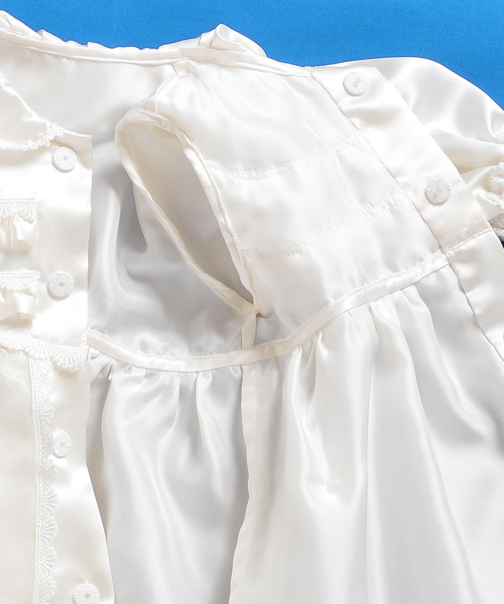 天然シルク100%裾お花付きベビードレス【お宮参りに最適】