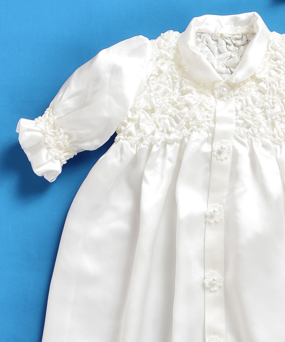 天然シルク100%胸元ギャザーの華やかベビードレス【お宮参りに最適】