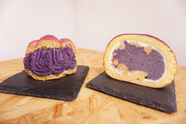 初めての人はこれ!【お試し2個2個セット】 紅芋シュークリーム2個&ロールケーキ2枚 冷凍【送料込み】