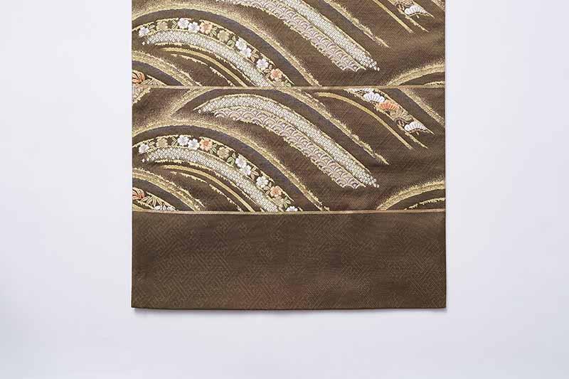 西陣袋帯 都織物謹製 「吉祥花波頭模様」