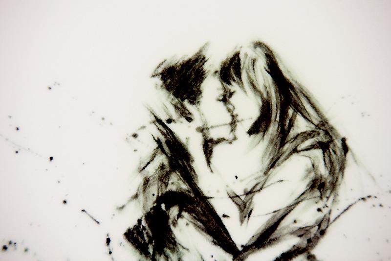 直筆陶墨画「接懐吻嬉(せっかいふんき)」
