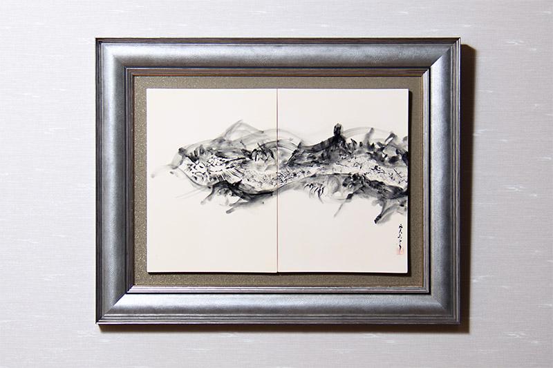 直筆陶墨画「白峰種蒔(はくほうしゅじ)」