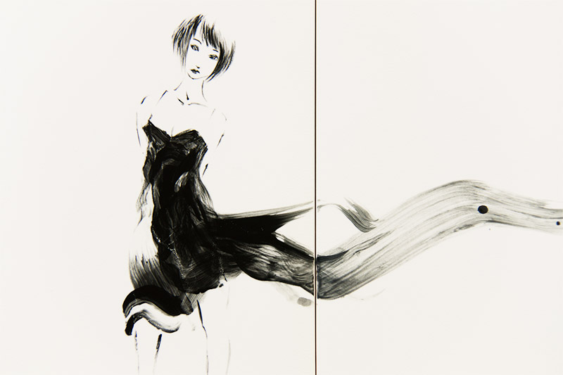 直筆陶墨画「鮮黒猫麗(せんこくびょうれい)」