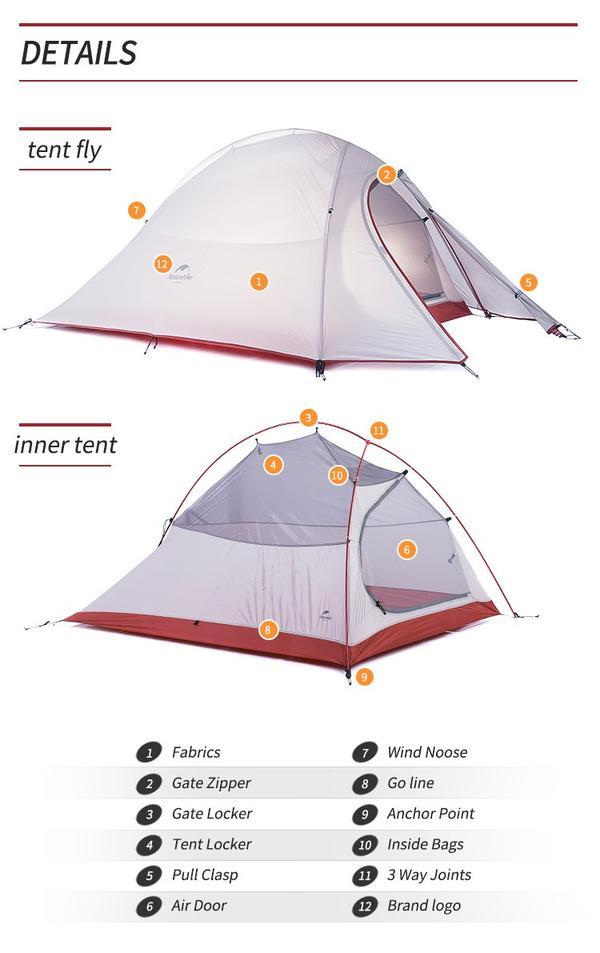【NatureHike】2人用テント 超軽量 ダブルウォールテント【グレー】キャンプテント ダブルレイヤー UV40 紫外線防止 キャンプ ハイキング旅行テント アウトドア ビーチテント 簡易テント ポップアップテント ドームテント【防水テント】【二人用】