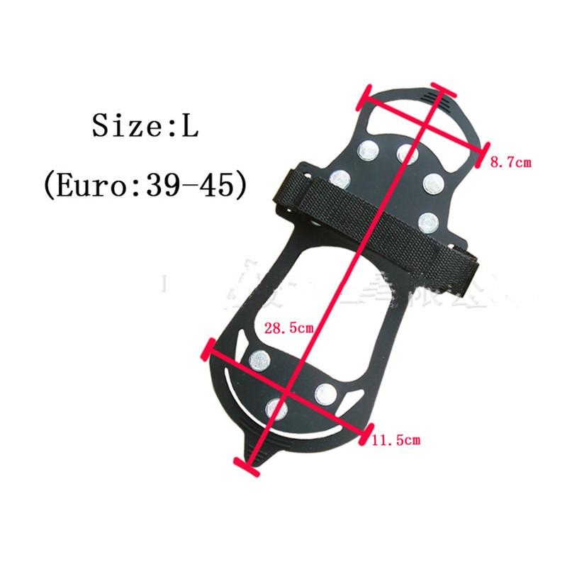 【専用ケース付】(S/M/L/XL)簡単装着! 軽量アイスグリッパー スノースパイク  10個の金属製爪と3個のゴム製の爪で路面を確実に! グリップのスタッドが、地面をしっかりグリップ【雪/凍結/簡易式/アイゼン/滑り止め/スパイク】