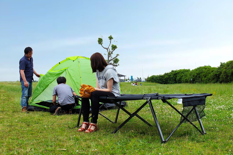 【KingCamp】 安全ロック付 フォールディングベッド KC3940 BLACK STRIPE ブラックストライプ  アウトドア 海 BBQ キャンプ ピクニック