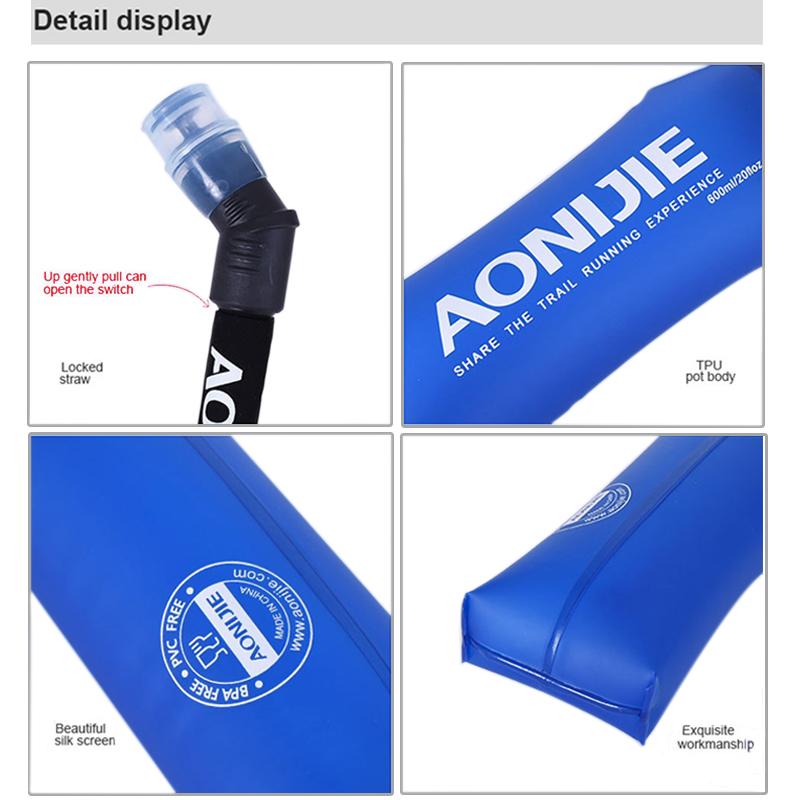 (送料無料)【AONIJIE】折りたためる 600ML ハイドレーション ソフトウォーターボトル ウォーターキャリー 水分補給 無臭 ウォーターバッグ 折りたたみ給水袋 サイクリング 登山 ランニング 災害 防災