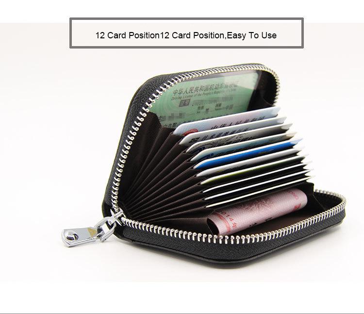 (6色)本革 RFID 12ポケット スキミング防止 カード入れ カードケース じゃばら  レザー 財布 名刺