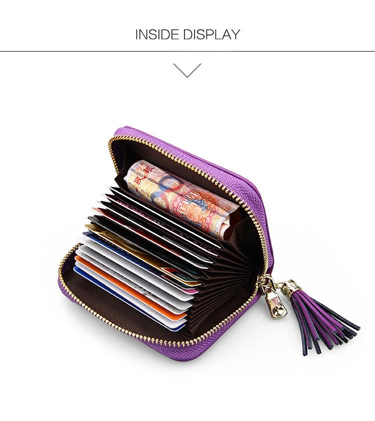 (7色)高級感漂う格子柄 本革 RFID 15ポケット スキミング防止 カード入れ カードケース じゃばら  レザー 財布 名刺