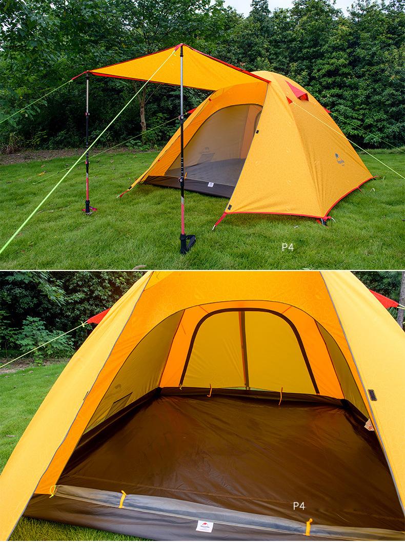 【NatureHike】UPF50+ 表面はエンボス加工 フライシート付 4人用 ドーム型テント 210×210×130cm 耐水圧:3000mm【4色】