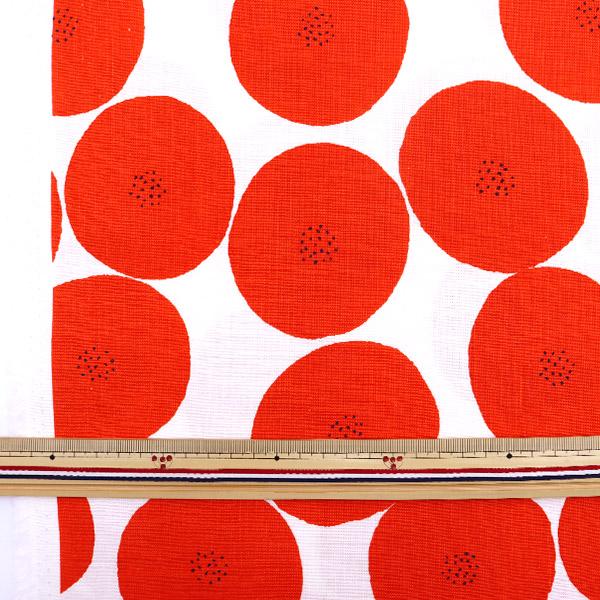 【数量5から】生地 『MUDDY WORKS(マディワークス) 綿モーリークロス あんぱん柄 白×レッド JGH-114-1H』 KOKKA コッカ