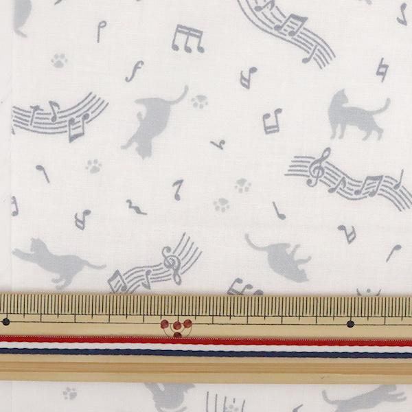 【数量5から】 生地 『スケア ラッカープリント ねこ柄 ホワイト×グレー KW-3115-11G』