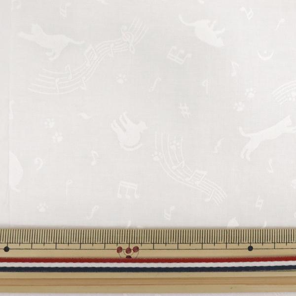 【数量5から】 生地 『スケア ラッカープリント ねこ柄 ホワイト×ホワイト KW-3115-11H』
