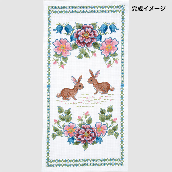 刺しゅうキット 『オノエ・メグミ テーブルセンター ブルーベルとウサギ 1202』 Olympus オリムパス