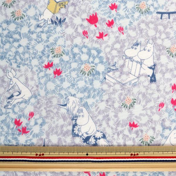 【数量5から】生地 『カワトウリカ×ムーミン Wガーゼ (ダブルガーゼ) ブルーグレー G1003-1C』 KOKKA コッカ