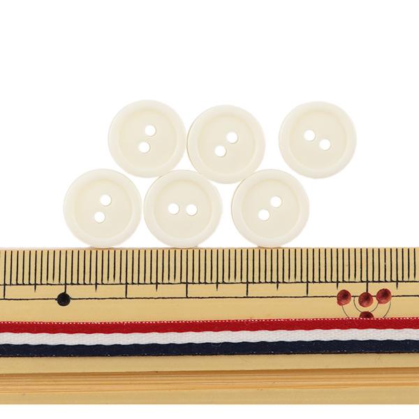 ボタン 『二つ穴ボタン 13mm 6個入り オフ白 PYTD20-13』