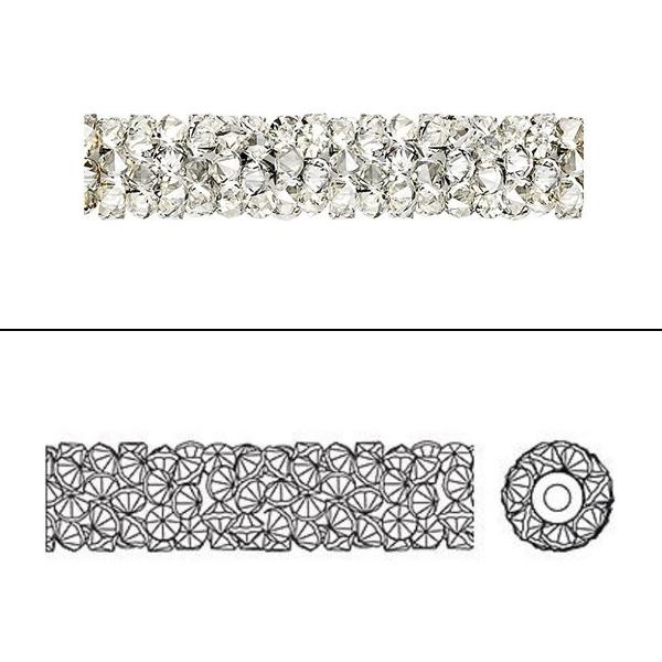 スワロフスキー 『#5951 Fine Rock Tube beas ジェット&メタリックシルバー 15mm 1粒』 SWAROVSKI スワロフスキー社