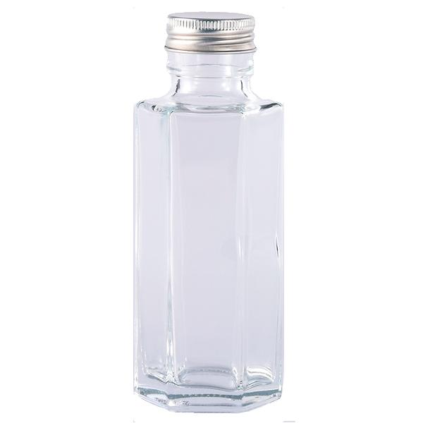 ガラスボトル六角100ml キャップ銀