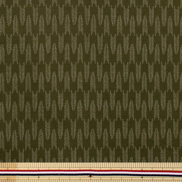 【数量5から】生地 『生地矢絣柄 和調シーチングプリント 緑色 88222-6-1』