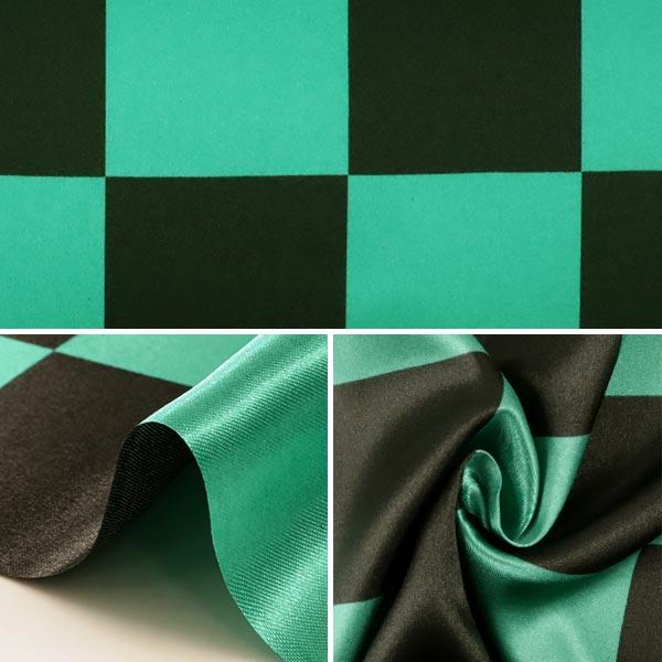 【数量5から】 生地 『サテン 和柄 市松模様 大 緑×黒 PSWGR-01L』