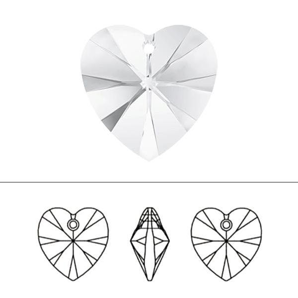 スワロフスキー 『#6228 XILION Heart Pendant ライトシャム 14.4×14mm 2粒』 SWAROVSKI スワロフスキー社