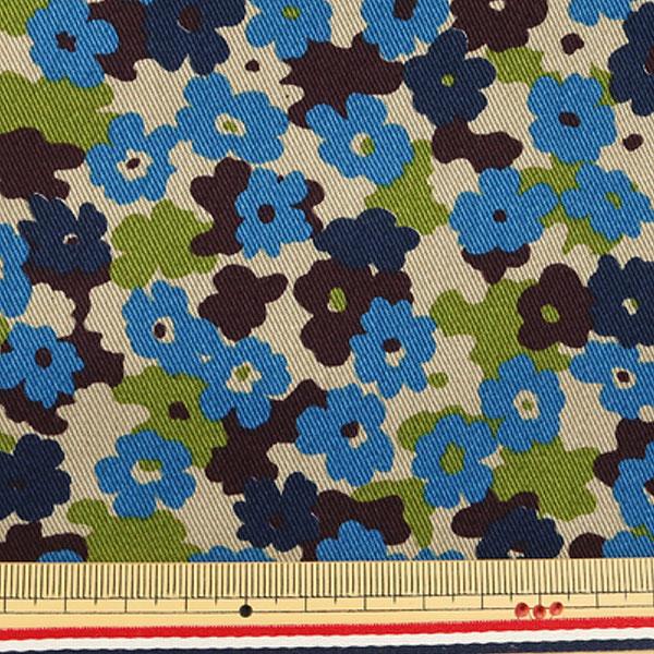 【数量5から】生地 『ツイルプリント生地 迷彩花柄 ブルー系 KTS6558-B』 COTTON KOBAYASHI コットンこばやし 小林繊維