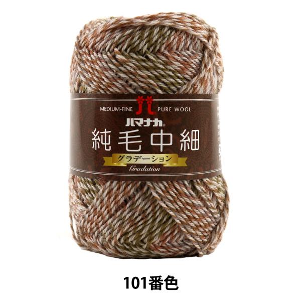 秋冬毛糸 『純毛中細 (グラデーション) 101番色』 Hamanaka ハマナカ