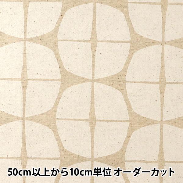 【数量5から】 生地 『綿麻キャンバス 幾何学模様 白 148-1805-A1』