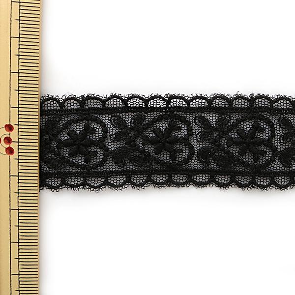 【数量5から】レースリボンテープ 『チュールレース 黒 幅約28mm T24181-19』