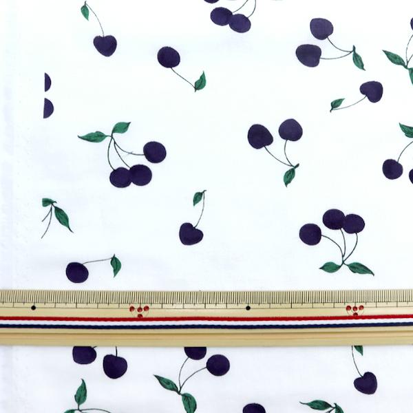 【数量5から】 生地 『オーガニックローン チェリーAG オフホワイト×ネイビー BCA-92410-415』 KOKKA コッカ