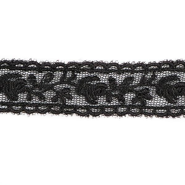【数量5から】レースリボンテープ 『チュールレース 黒 幅約15mm 24220-19』