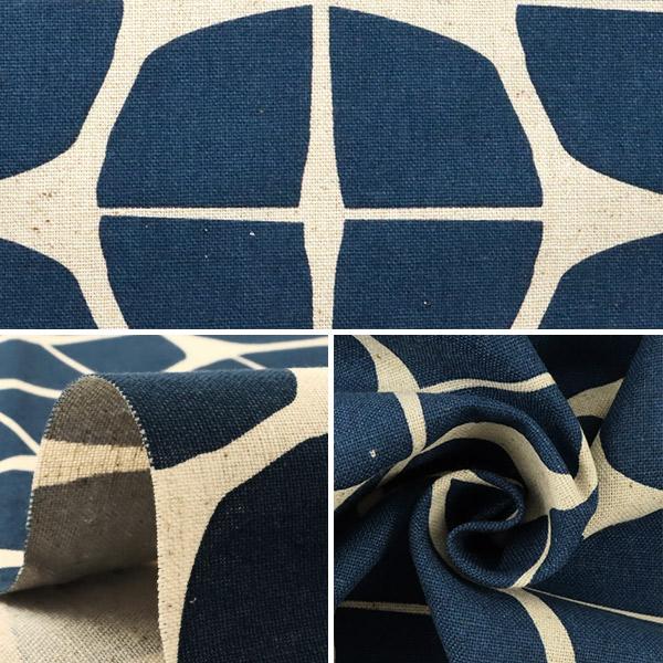 【数量5から】 生地 『綿麻キャンバス 幾何学模様 ネイビー 148-1805-A4』