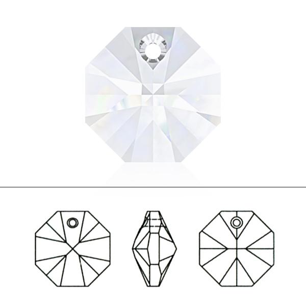 スワロフスキー 『#6401 Octagon Pendant クリスタルシルバーシェード 8mm 5粒』 SWAROVSKI スワロフスキー社
