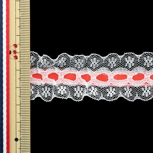 【数量5から】フリルリボンテープ 『ラッセルフリル 2018 幅約30mm 8番色 赤 12532-8』