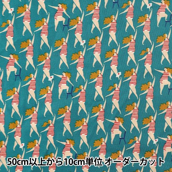 【数量5から】生地 『シーチング ACTION PATTERN シンクロ ブルー LGA-41030-2A』 KOKKA コッカ