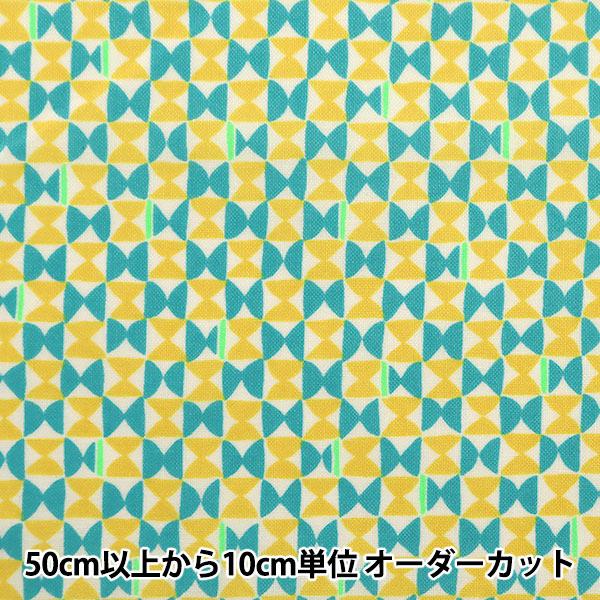 【数量5から】生地 『シーチング FANTASTIC WORLD 幾何柄 エメラルドグリーン×イエロー LGA-41000-2B』 KOKKA コッカ