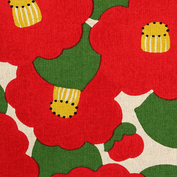 生地 『綿麻キャンバス 椿柄 50cm×110cm カットクロス キナリ』 COTTON KOBAYASHI コットンこばやし 小林繊維