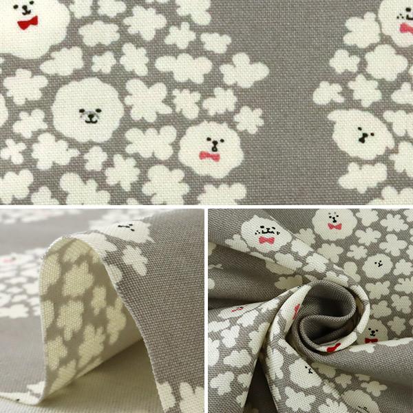 【数量5から】 生地 『10番キャンバス ポップコーン犬 グレー KTS6615-A』 COTTON KOBAYASHI コットンこばやし 小林繊維