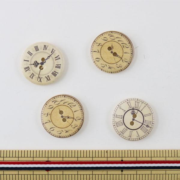 ボタン 『ウッドボタンMIX 3cm 時計』